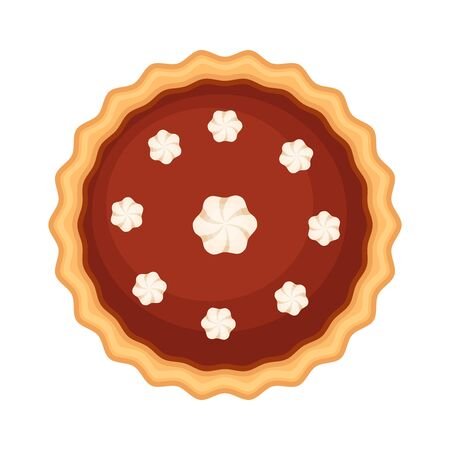 Traditional American homemade chokolate  pie with whipped cream. Vector illustration isolated on white background. Elevated view.