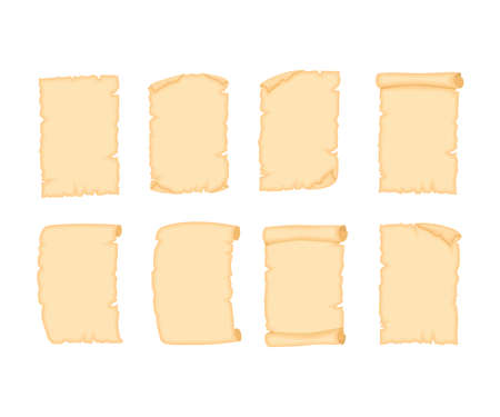 Set of Parchment old paper sheets of various shapes  illustration isolated on white background.
