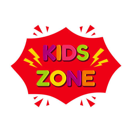 Kids zone label isolated on white background. Colorful letter for children playroom decoration. Illusztráció