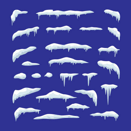 Set of snow caps, snowballs,  icicles and snow drifts illustration. Winter decorative elements.