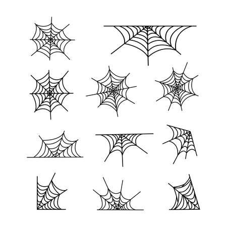 Spiderweb set vector illustration isolated on white background. Halloween decoration design elements.