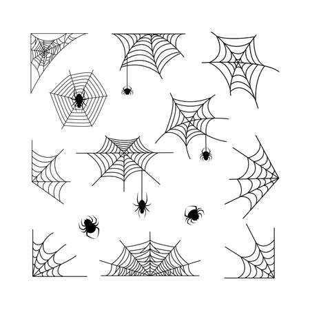 Spiderweb with spiders insect set vector illustration isolated on white background. Halloween decoration design elements. Illusztráció