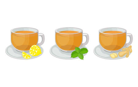 Set of glass cups with saucers with herbal tea inside and lemon slice, mint, ginger vector illustration isolated on white background. Hot herbal tea vector Illusztráció