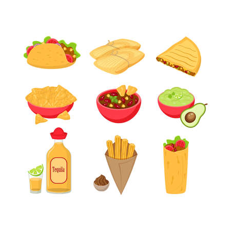 Set of different traditional Mexican food vector illustration isolated on white background. Tacos, tamales, quesadila, chili con carne, guacamole, tequila, churos, burrito.