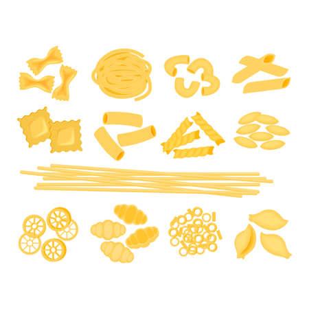 Big set with the different types of italian pasta vector illustration isolated on white bacground. Spaghetti, Farfalle, penne, rigatoni, ravioli, fusilli,conchiglie, elbows, fettucine italian pasta illustration. Illusztráció