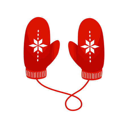 Red mittens pair vector illustration in flat cartoon style isolated on white background. Christmas greeting card.