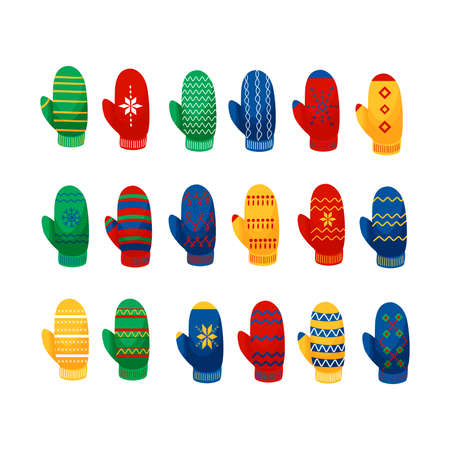 Mittens multicolor collection vector illustration in a flat cartoon style isolated on white background. Winter design elements