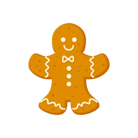 Gingerbread man traditional Christmas cookie with icing vector illustration in a cartoon flat style isolated on white background. Illusztráció