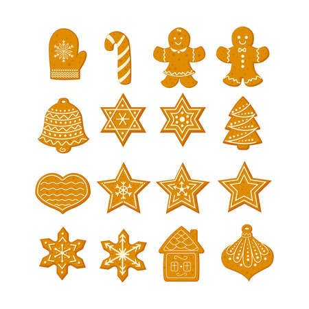 Gingerbread Christmas cookies set with stars snowflakes Christmas tree and ginger man vector illustration in a cartoon flat style isolated on white background. Illusztráció