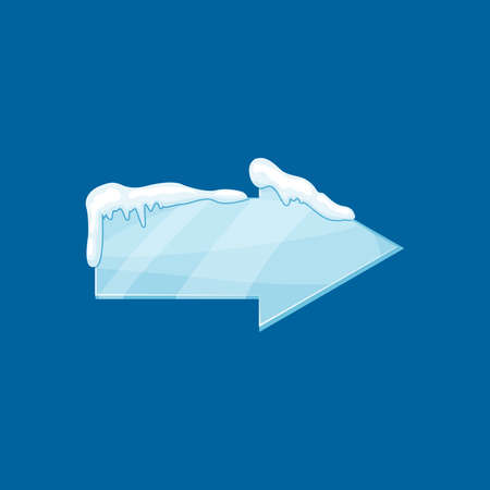 Snow frozen icicle arrow banner vector illustration isolated on blue background.