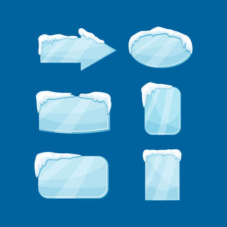 Snow icicle banner set vector illustration isolated on blue background. Winter decoration tags.