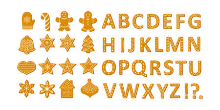 Gingerbread Christmas cookies set with stars snowflakes Christmas tree and ginger man and alphabet vector illustration in a cartoon flat style isolated on white background.