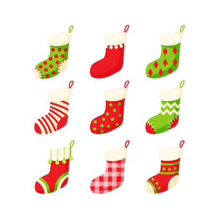 Christmas stocking set vector illustration in a cartoon flat style isolated on white background. Traditional colorful ornate New Year socks collection. Illusztráció