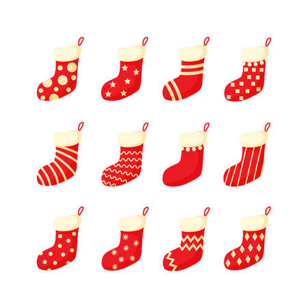 Red and white Christmas stocking set vector illustration in a cartoon flat style isolated on white background. Traditional colorful ornate New Year socks collection.
