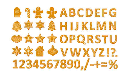 Gingerbread Christmas cookies set with stars snowflakes Christmas tree and ginger man, alphabet and numbers vector illustration in a cartoon flat style isolated on white background.