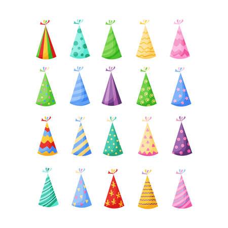 Birthday party hats set vector illustration on white Illusztráció