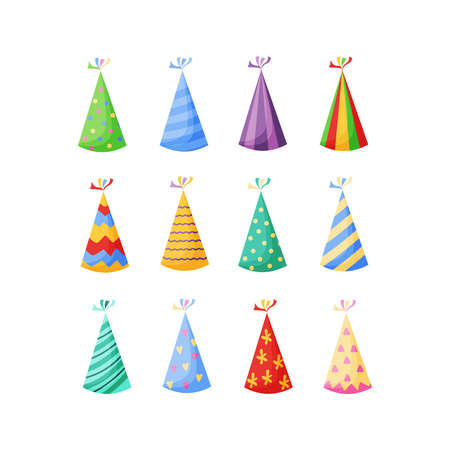 Birthday party hats set vector illustration in a cartoon flat style isolated on white background. Colorful party caps for celebration design.