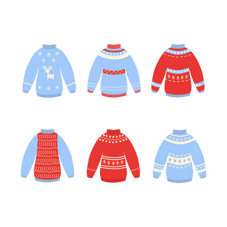 Traditional ugly Christmas sweater set vector illustration isolated on white background. Knitted winter jumpers with nordic ornament. Illusztráció