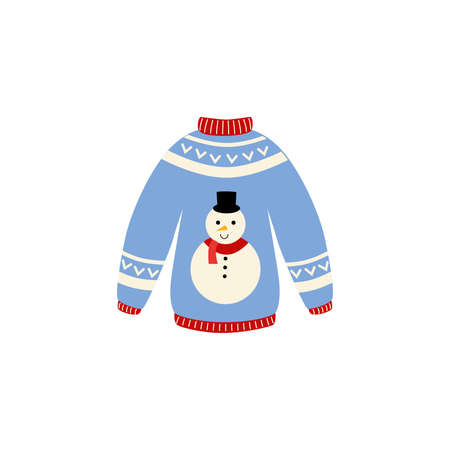 Traditional ugly Christmas sweater vector illustration isolated on white background. Knitted winter jumpers