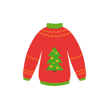 Traditional ugly Christmas sweater red color with christmas tree vector illustration isolated on white background. Knitted winter jumpers