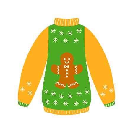 Traditional ugly Christmas sweater yellow and green color with ginger man cookie vector illustration isolated on white background. Knitted winter jumpers