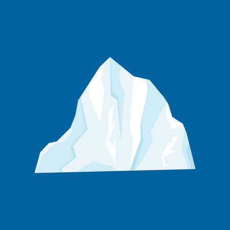 Iceberg vector illustration isolated on white background in a cartoon flat style. Antarctic and North Pole ice frozen mountain landscape. Large piece of freshwater blue ice