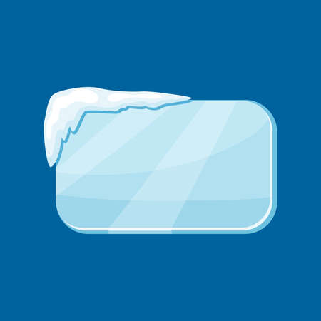 Snow frozen icicle rectangle banner with snow drifts vector illustration isolated on blue background.