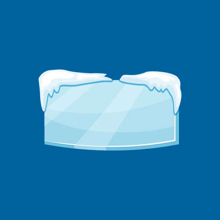 Snow frozen icicle rectangle banner with snow drifts vector illustration isolated on blue background. Illusztráció