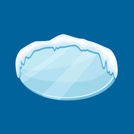 Snow frozen icicle oval banner with snow drifts vector illustration isolated on blue background.