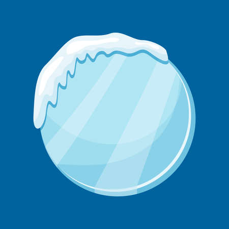 Snow frozen icicle round banner with snow drifts vector illustration isolated on blue background. Illusztráció