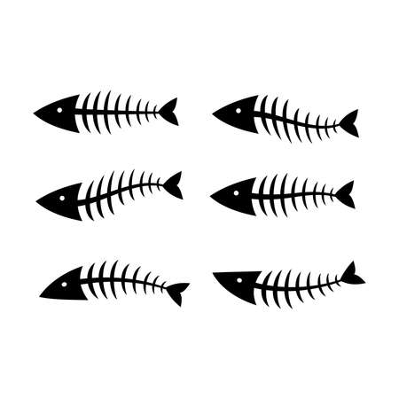 Fish bone or skeleton set vector illustration in a cartoon flat style isolated on white background. Fishbone silhouette with different form. Illusztráció