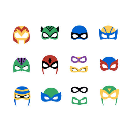 Comic superhero man and women masks set vector illustration in a flat cartoon style isolated on white background. Superhero photo booth.