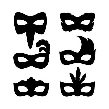 Festive carnival masks silhouette set vector illustration isolated on white background.