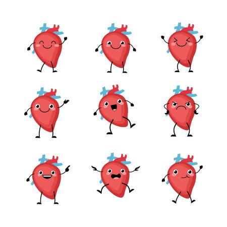 Cute heart organs character set in a flat cartoon style.