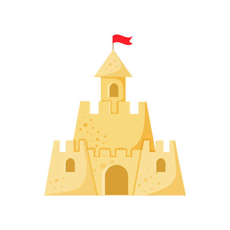 Beach sand castle vector illustration in a cartoon flat style isolated on white background. Fort of fortress with towers gates and flag