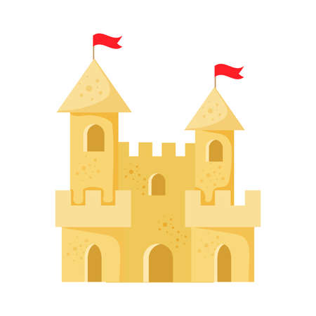 Beach sand castle vector illustration in a cartoon flat style isolated on white background. Fort of fortress with towers, gates and flag