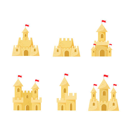 Set of Beach sand castles vector illustration in a cartoon flat style isolated on white background. Fort of fortress with towers gates and flag
