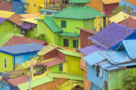 Houses and roofs of Jodipan, a small neighborhood full of colors and joy in the center of the city of Malang.