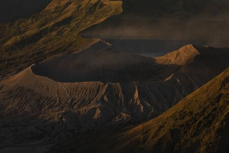 Sunrise close-up at the active volcano Bromo, and the Tengger massif, in East Java, Indonesia. 免版税图像