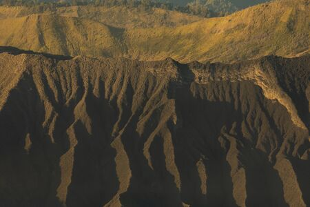 Sunrise, close-up of the Tengger massif that surrounds the active volcano Bromo, in East Java, Indonesia.