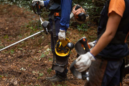 Moncayo, Spain - October 14, 2020: Workers of the forest fire prevention service, Dept. of Rural Development and Sustainability of the government of Aragon and SARGA, in clearing work