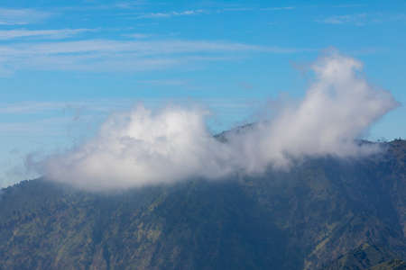 Bromo mountains and natural landscape, part of the Tengger massif, seen from Cemoro Lawang village, in East Java province, Indonesia