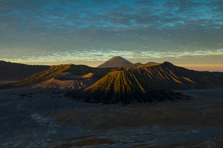 Bromo active volcano landscape at sunrise, behind the Tengger massif, seen from the King Kong Hill viewpoint in East Java, Indonesia