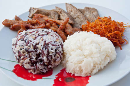 Sticky rice with fried pork and liver