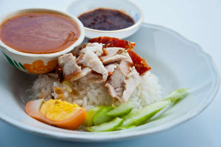 Thai food red pork with rice Stock Photo