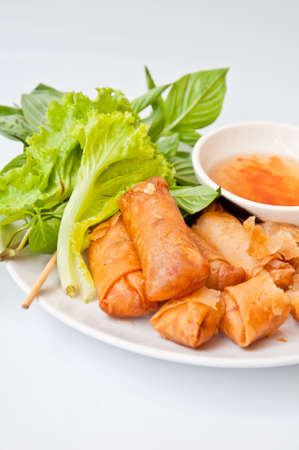 fried spring roll  made from flour, Oyster, pork, Mushroom and various vegetables Stock Photo - 10835793