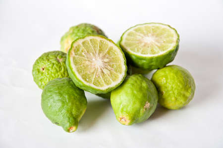 Kiffir Lime on white background photo