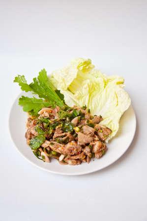 namtok: Delicious Thai food call NAMTOK MOO Stock Photo