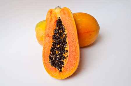 Papaya on white background for healthy food Stock Photo