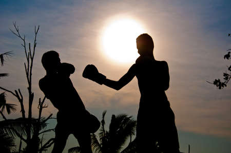 silhouette of MUAYTHAI photo